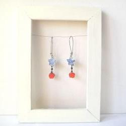 Earrings, blue stripe porcelain stars and red resin rose - Sailor Stripes